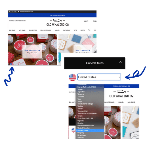 International Shipping Can Be Accessed By Clicking on the Flag in the Bottom Left-Hand Corner